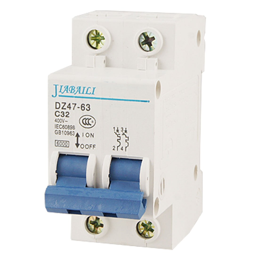 Uxcell a11091700ux0059 Two 2 Poles DIN Rail Mount Miniature Circuit Breaker 2P, AC, 400V, 32 Amp, 6000 Amp