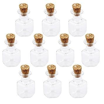 PIXNOR 10pcs vidrio Mini botellas tarros de forma cúbica con corcho deseo Nota arte botella (Claro): Amazon.es: Hogar