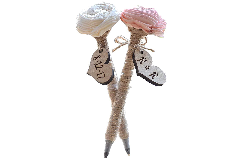 Personalized Tree Slice Pen Holder Personalized Gift Rustic Wedding Decor Pen Holder Sola Flower Pens