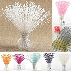 100 Stems Faux Pearl Spray Beads Wire Stems Wedding Bridal Flower Bouquet Party Table Decor 52