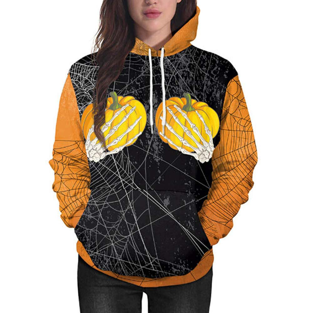 kaifongfu Women Sweatshirt with Pumpkin Ghost Claw Halloween Hooded(Black,XL)