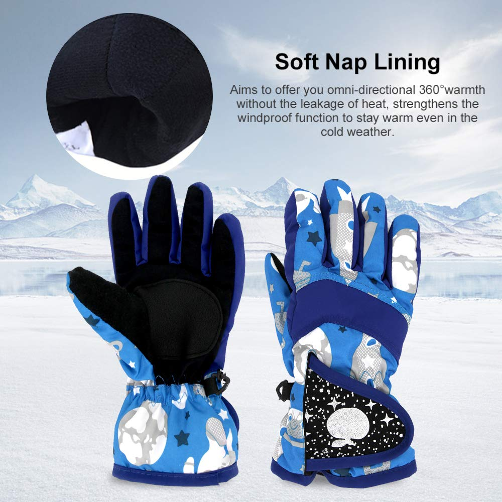 Kids Snow Gloves Snowboarding Outdoor Blue Non-Slip Breathable Cold Weather Thinsulate Ski Warm Glove Waterproof Winter Mittens With Adjustable Buckle For Boys Toddler Girls Cycling For Skiing