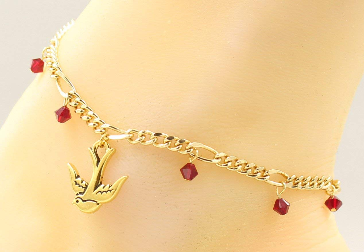 Swallow Bird Charm Anklet or Bracelet and Customizable Gold-Tone Brass Plated Chain