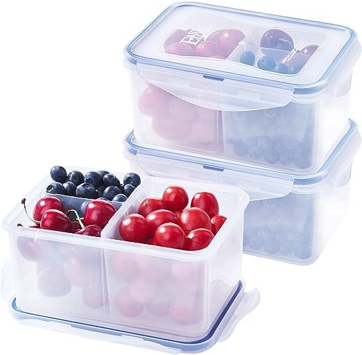 Pack de 3 fiambreras Bento con 3 compartimentos, 1200 ml, contenedor hermético de almacenamiento de alimentos, sin BPA, plástico apto para microondas, congelador y lavavajillas: Amazon.es: Hogar