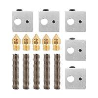 5pcs Nozzle Throat Tube + 5pcs 0.4mm Brass Extruder Nozzle + 5pcs Heater Blocks Hotend for MK8 Makerbot 3D Printer