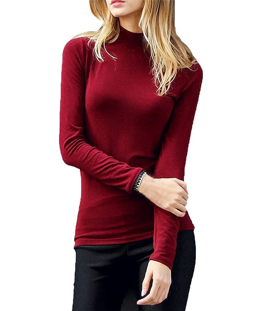 LIREROJE Womens Cotton Plain Long Sleeve Turtleneck Top TShirt (Small, A Mock Neck Wine)