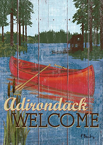 (Toland Home Garden Rustic Lake Life Adirondack Welcome 28 x 40 Inch Decorative House Flag )