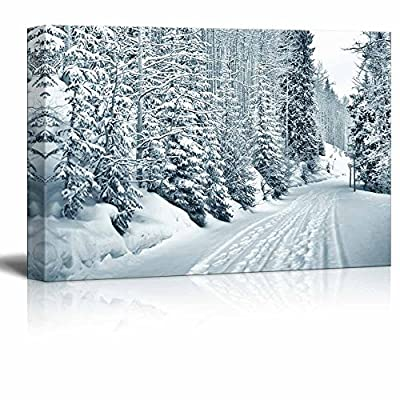 Canvas Prints Wall Art - Ski and Foot Prints Trought The Snowy Forest in Vail, Colorado - 12