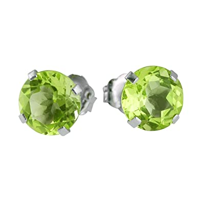9854e654c Image Unavailable. Image not available for. Color: 14k White Gold 6mm Round Peridot  Stud Earrings ...