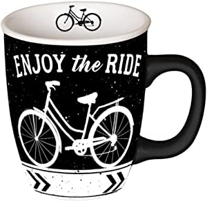 Carson Home Enjoy the Ride Mug 14oz, Decorative Ceramic Mug for Coffee Latte Tea Hot Cocoa, Novelty Gift for Travelers, Microwave and Dishwasher Safe