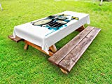 Lunarable Drums Outdoor Tablecloth, Rock and Roll Drums Indie Country Folk Western Shows Concert Grunge Graphic Artful, Decorative Washable Picnic Table Cloth, 58 X 120 inches, Multicolor