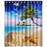 "Custom Polyester Shower Curtain 60"" x 72"" starfish sea star summer beach tropical sea life palm tree conch"
