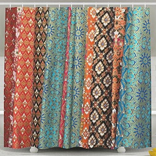 ERSFGHAJK Shower Curtain Decor by Traditional Thai Tandmade Bathroom Shower Curtain Set with Hooks 60 x 72 Inches by ERSFGHAJK