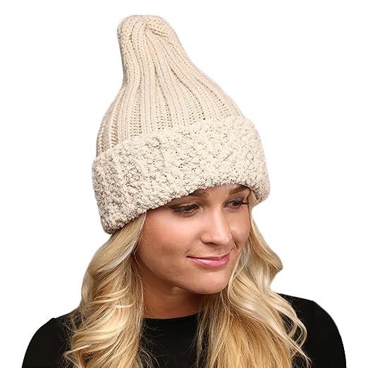 MIRMARU Women s Winter Knitted Long Pointy Top Faux Fur Trim Beanie Hat .(Beige) 082beb373