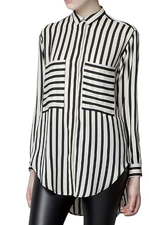 ELLAZHU Women Striped Long Sleeve Spring Blouse Shirt (Size L ...
