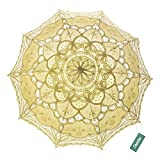 TopTie Wedding Lace Parasol Umbrella Victorian Lady Costume Accessory Photo Prop-Yellow-48 PCS