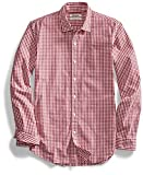 Goodthreads Men's Slim-Fit Long-Sleeve Gingham Shirt, Red/White, Medium