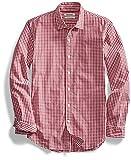 Goodthreads Men's Slim-Fit Long-Sleeve Gingham Shirt, Red/White, Large