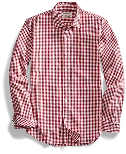Goodthreads Men's Slim-Fit Long-Sleeve Gingham Plaid Poplin Shirt, Red/White, XX-Large