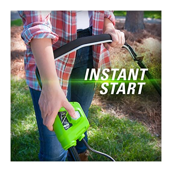 greenworks 40V 21 inch Brushless Dual PH Mower with Two 2.5AH Batteries and Charger, MO40L2512 7 Includes (2) 2.5 AH - 40V Lithium Batteries Durable 21'' Steel Deck lets you Mulch, Bag, or Side Discharge allowing you to maintain your yard the way you want it Our dual battery port design enables one battery to be stored while the other fuels the mower for uninterrupted cutting; saving a you a trip to the garage