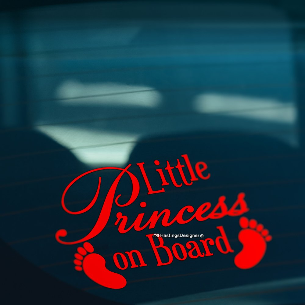 BABY FEET LITTLE PRINCESS ON BOARD Funny Car, Bumper, Window Vinyl Decal Sticker (White) HastingsDesigner