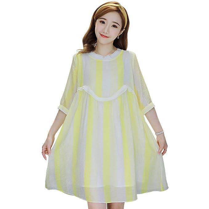 Deaman Verano Nuevo Dos Colores Mujeres Coreanas Embarazadas de Gran Tamaño Pequeño Fresco Un Vestido Largo Palabra Muñeca.: Amazon.es: Ropa y accesorios