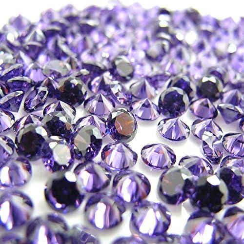 라운드 컷 2.0 mm 천연 석 자 2 월 탄생 석 루스 벌 거 벗은 바위 / Round Cut 2.0mm Natural Stone Amethyst February Birthstone Loose Bare Stone