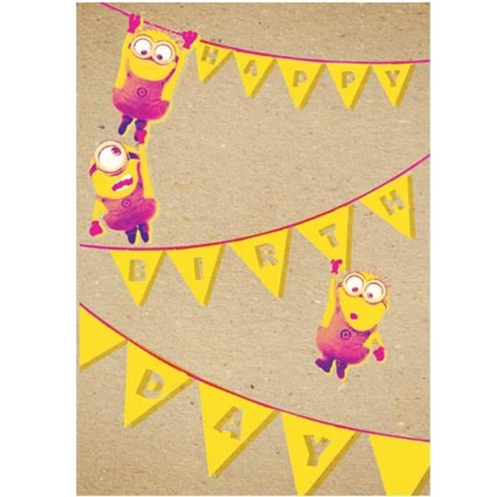 Amazon.com : Minions Birthday Bunting Blank Greeting Card ...