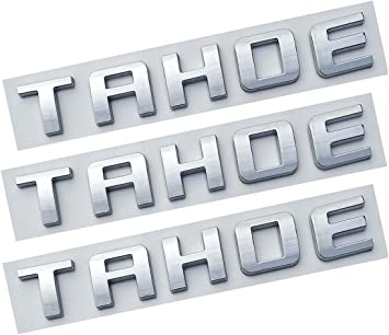 Emzscar Black 1pc Tahoe Nameplate Emblem ABS Letter Badge Replacement for Gm 07-16 Tahoe Glossy Shiny