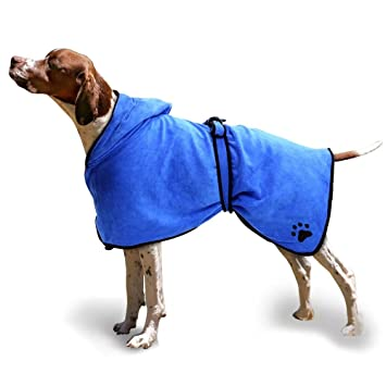 1ac7ab31ea ubest Bathrobe for Dogs Drying Coat Towel Super Absorbent Blue M   Amazon.co.uk  Pet Supplies
