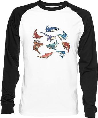 Tiburones - Ballena Tiburón Hombre Mujer Unisex Camiseta De Béisbol Blanca Negra Womens Mens Unisex Baseball T-Shirt: Amazon.es: Ropa y accesorios