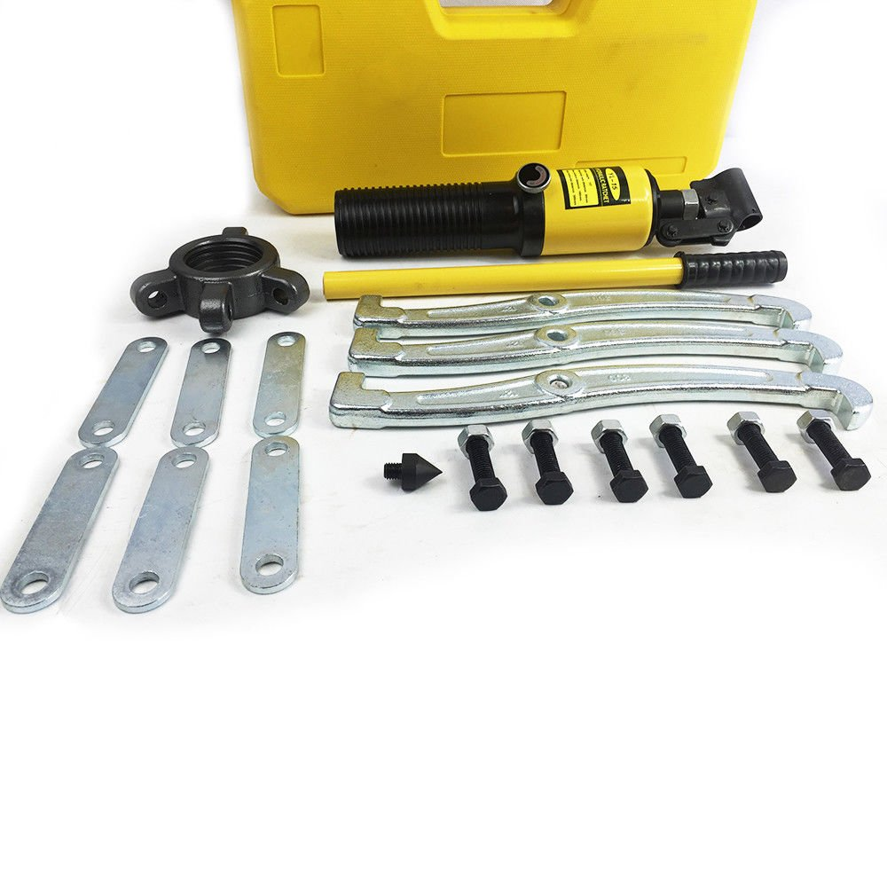 SENDERPICK Hydraulic Puller kit Multi-function Integral-Unit Hydraulic 3 Jaw Gear Puller Kit 15T Jaw Puller Seperator with Case
