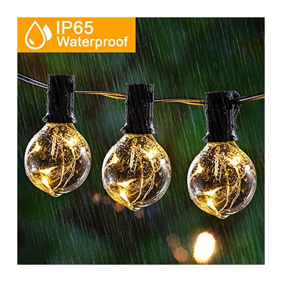 arzerlize String Lights Outdoor, 35FT G40 LED Light String Shatterproof 30 Bulbs E12 Base Decorative Lighting Hanging Patio Waterproof Outside Garden Backyard Bistro Porch Balcony Gazebo Party - [ PERFECT DECORATION ]: Shatterproof perfect decorative LED outdoor globe string lights for living room, patio, backyard, bistro, cafe, balcony, gazebo, garden, market, party, wedding, Christmas, or enjoy a romantic dinner with your lover, creating a sweet and romantic atmosphere for you [ OUTDOOR GLOBE STRING LIGHTS ]: Upgraded 35FT G40 outdoor patio hanging string lights with 30 + 2 replacement energy-saving bulbs-UL Standard. Perfect fit for indoor & outdoor multi occasions. Please Note: The Edison string lights bulb is not dimmable and cannot be connected. For the safety protection of low voltage(Only support 5V bulb) [ WATERPROOF & SHATTERPROOF ]: Waterproof and heavy-duty Acrylic material, lantern string lights can withstand the harsh weather even in heavy rain. High-quality wires and waterproof bulbs can keep the LED globe string lights working perfectly throughout the year - patio, outdoor-lights, outdoor-decor - 61qYKBxE3EL. SS570  -