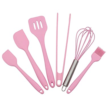 Silicone Baking Utensils Sets- 6 Piece Premium Silicone Baking Tool Set –Tongs, Whisk, 2 Sizes Spatula, Pastry Brush, Slotted Turner - Heat Resistant Baking Utensil Tool Set (pink)
