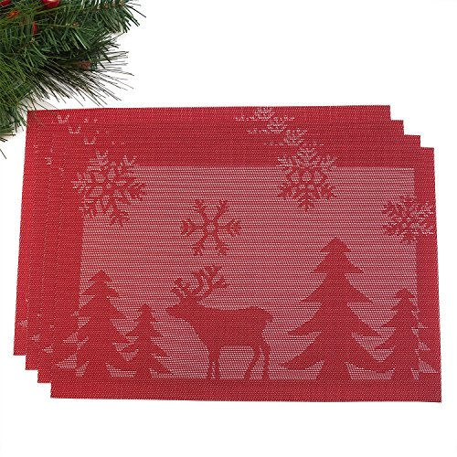 Christmas Holiday Placemats - Set of 4 - Washable and Stain Resistant - by Presence Home (4, Holiday ()