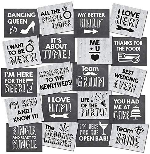 Photo Booth Signs (HDCo Wedding Photo Booth Props - 20 Designs, 8x10, Double Sided, Photo Booth Props Wedding, Wedding Photo Booth, Wedding Props Photo Booth Signs, Wedding)