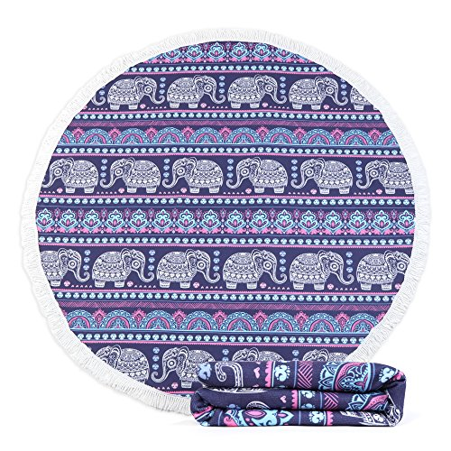 KIMODE Thick Round Beach Towel, Large Microfiber Soft Terry Circle Beach Towel Blanket with Cotton Tassels Super Water Absorbent 59 Inches Oversized Picnic Carpet Yoga Mat (59 in, Bohemian Elephant) (Beach Elephant)