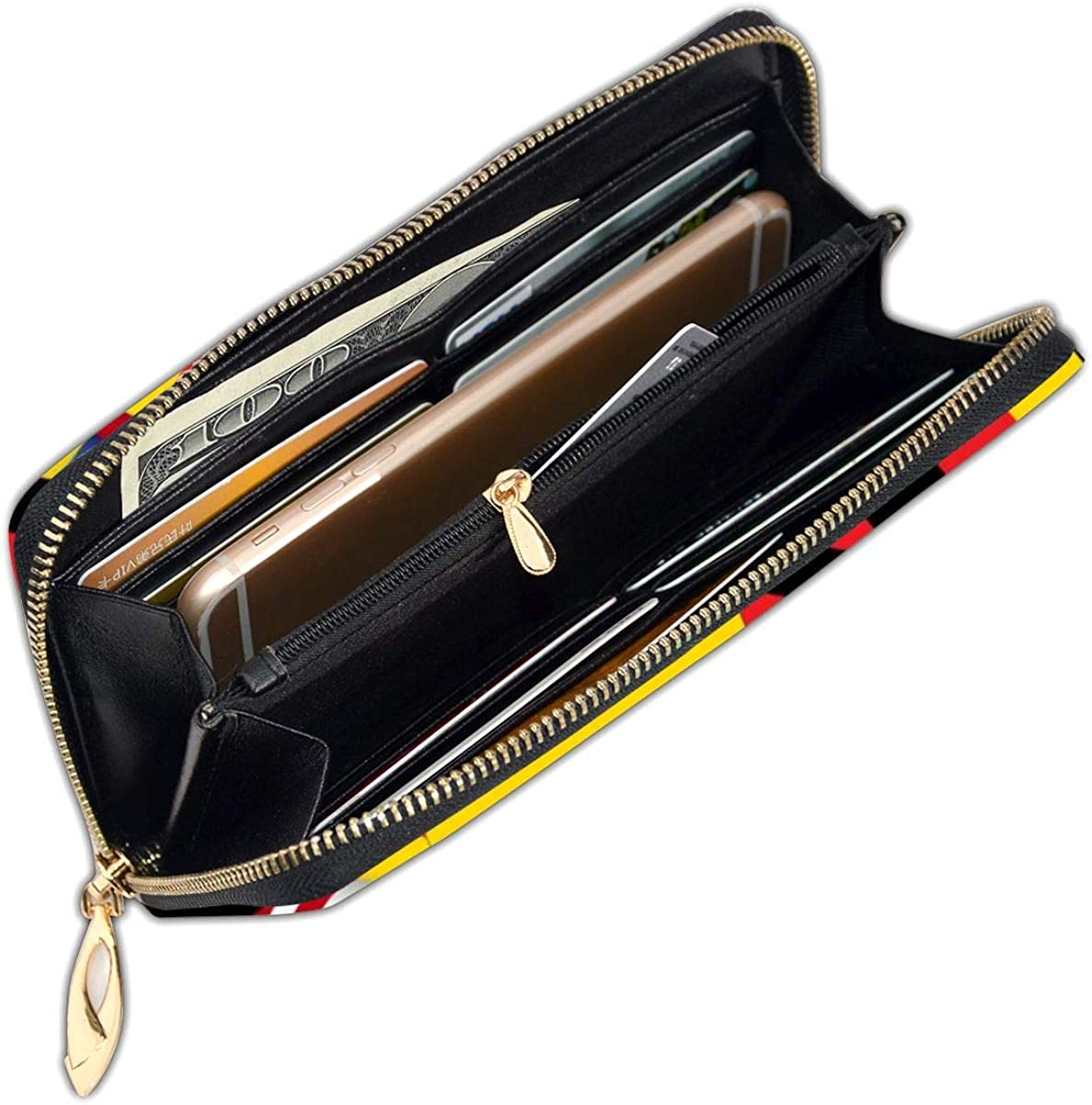 Germany Flag With America Flag Womens RFID Blocking Zip Around Wallet Genuine Leather Clutch Long Card Holder Organizer Wallets Large Travel Purse