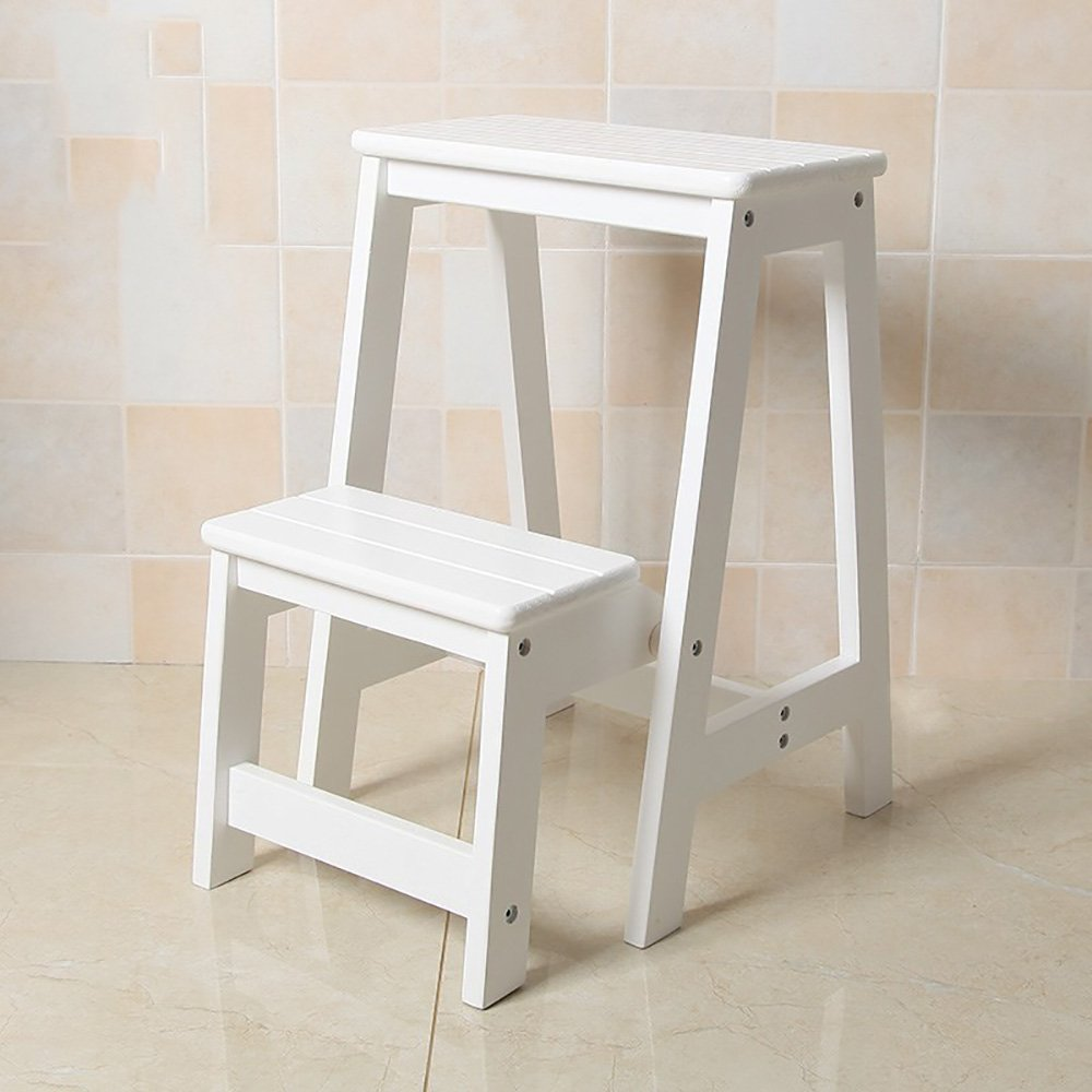 B-White 4739cm ZZHF dengzi Simple Solid Wood Footstool Collapsible Step Stool Changing shoes Stool Creative Ladder (4 colors Available) (color   A-Wood color, Size   47  39cm)