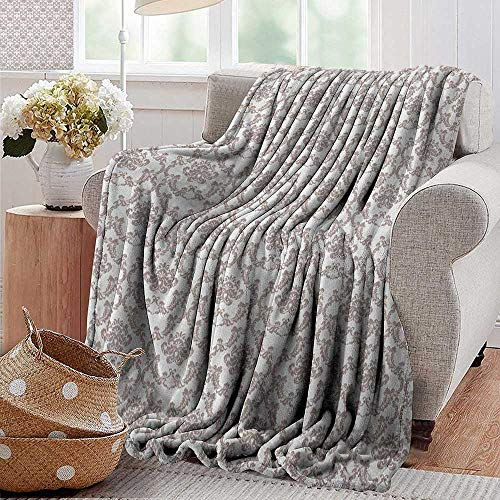 (XavieraDoherty Weighted Blanket,Taupe,French Style Curvy Damask Pattern Nostalgia Foliate Wealth Flora Elements Historical, Taupe White,300GSM, Super Soft and Warm, Durable 35