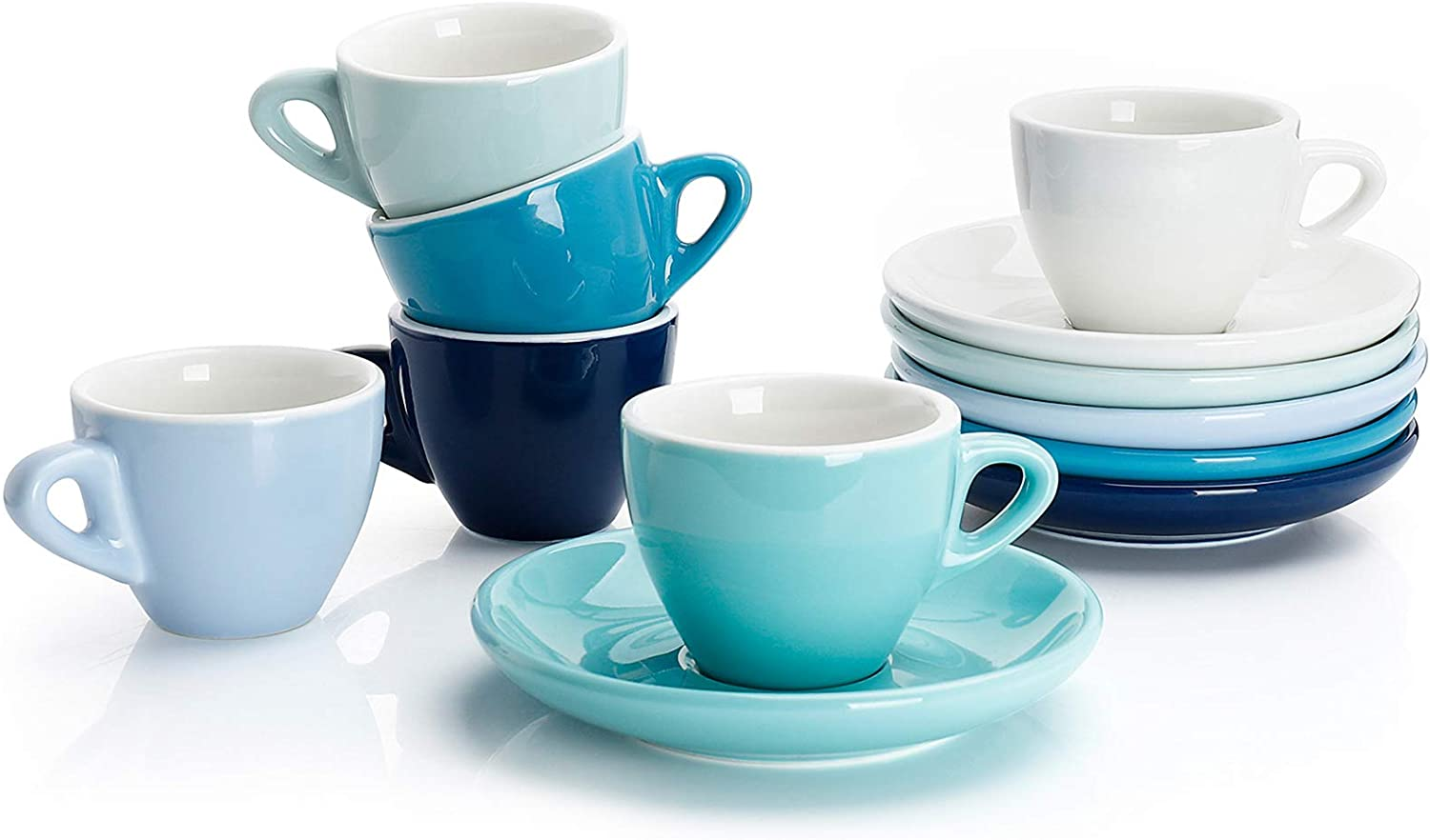 Sweese 401.003 Porcelain Espresso Cups with Saucers - 2 Ounce - Set of 6, Cool Assorted Colors