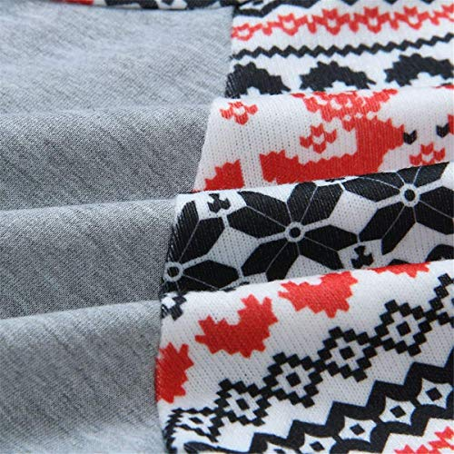 À Zhrui À De Longues Imprimé Capuche Gris élégant Manches Design Taille Automne Xl couleur Hiver Sweats Noël Pour RwBFxrR