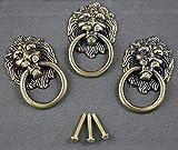 6 pieces Vintage Lion Head Ring Dresser Drawer Cabinet Cupboard Door Pull Handle etal Lion Head Style Door Pull Handle Knobs, Bronze Tone