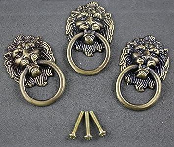 Merveilleux 6 Pieces Vintage Lion Head Ring Dresser Drawer Cabinet Cupboard Door Pull  Handle Etal Lion Head