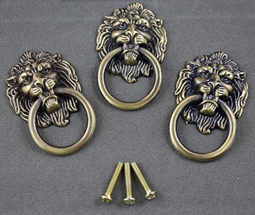 6 pieces Vintage Lion Head Ring Dresser Drawer Cabinet Cupboard Door Pull Handle etal Lion Head Style Door Pull Handle Knobs, Bronze Tone ()