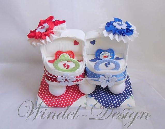 Windeltorte In Rot Blau Für Jungen Mädchen Zwillinge