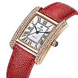 Women Rectangle Dress Watch Square White Dial Roman Numeral Analog Red Leather Strap Quartz Wristwatch
