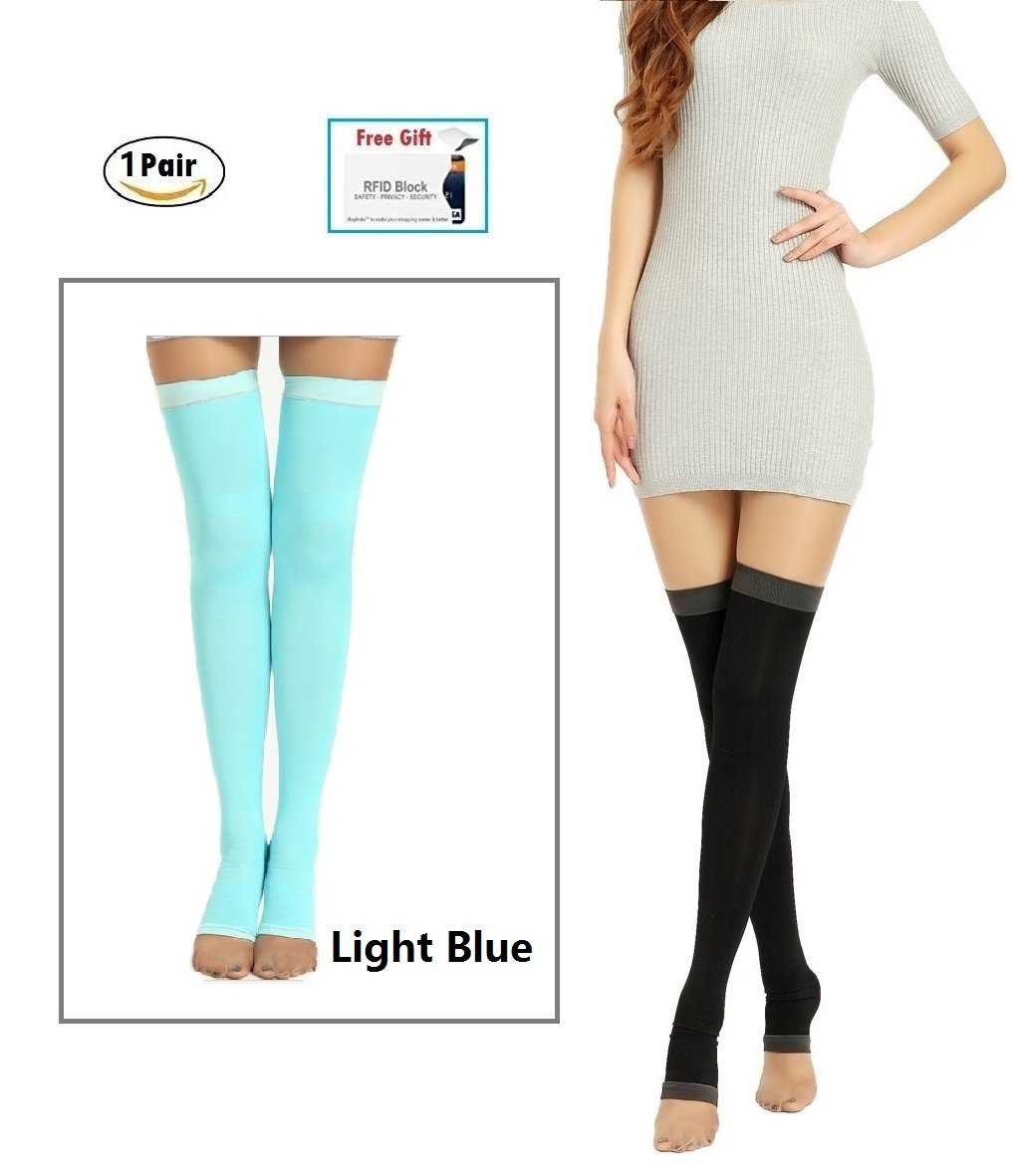 1Pair Yoga Sleep Therapeutic Thigh-high Compression Socks Toeless S/M + Small gift Black) CNMY