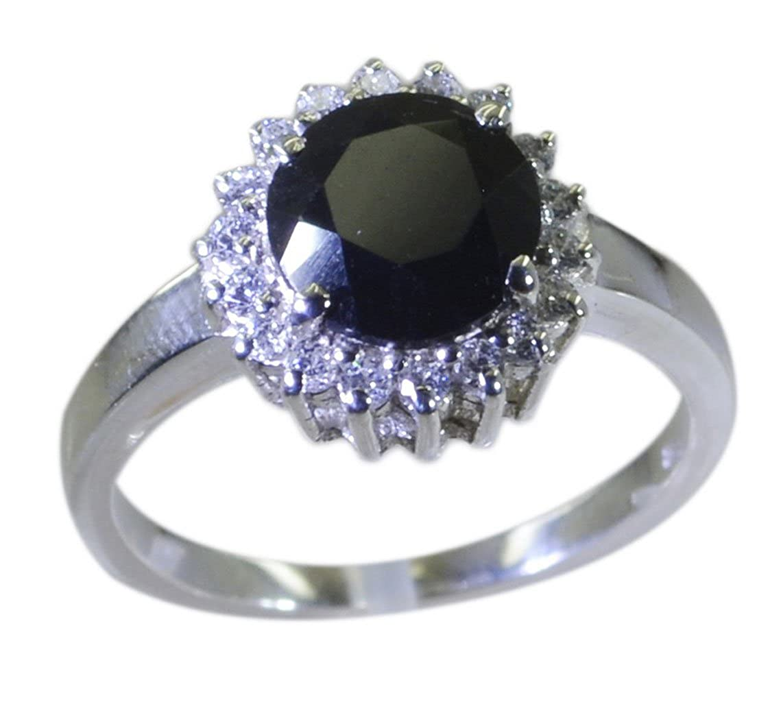 Genuine Black Onyx Sterling Silver Ring Round Shape Chakra Healing US 4,5,6,7,8,9,10,11,12 55carat 55MRBO-37