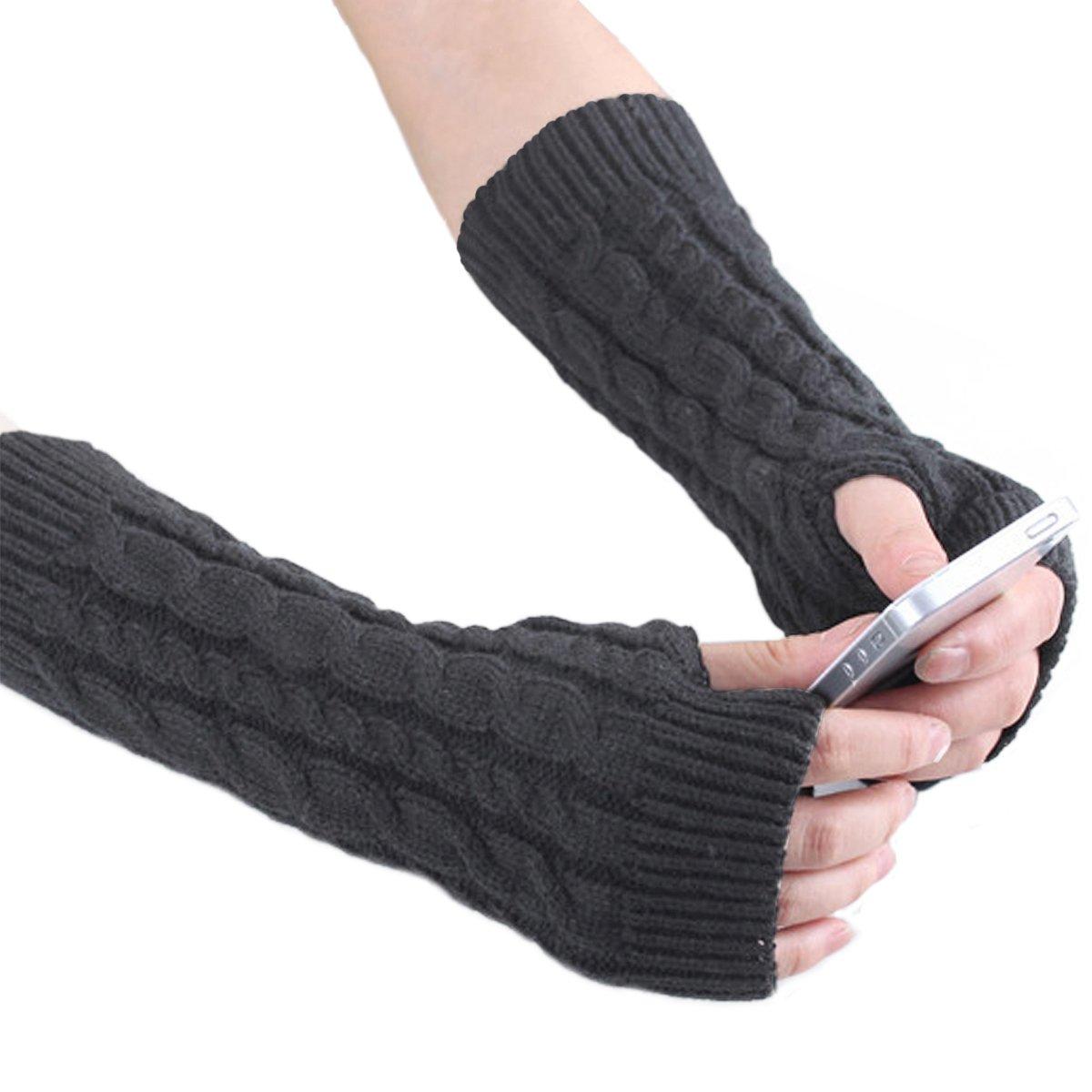 Aisa Womens Knitted Crochet Long Gloves Winter Warm Arm Fingerless Design Thumb Hole Knitted Gloves Mittens Soft Stretchy Warmer (Dark Grey)